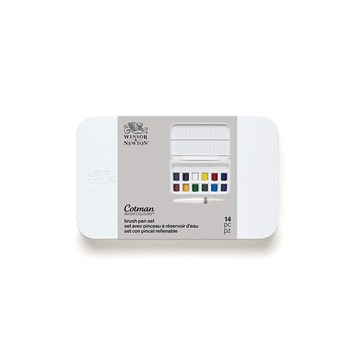 Winsor & Newton, 0390658, Cotman Brush Pen Kit, umělecké akvarelové barvy, 12 ks 1/2 pánviček se štětcem