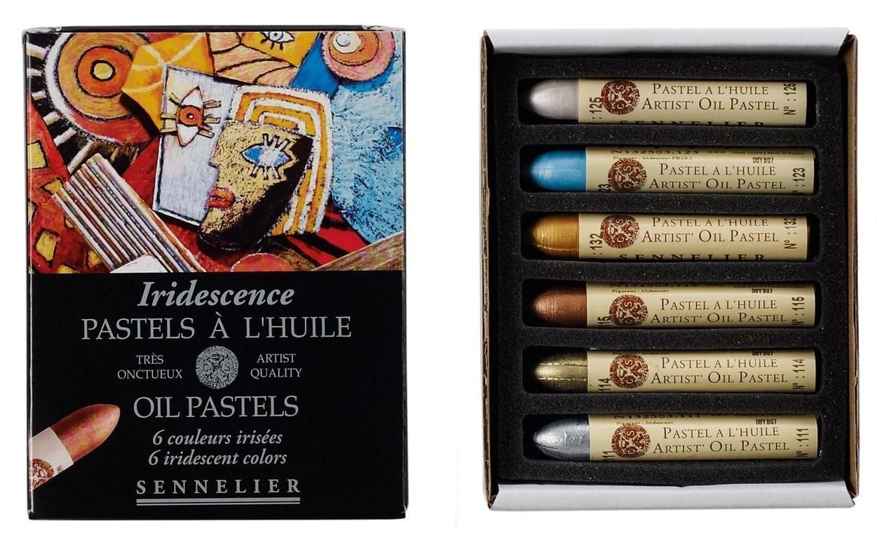 Sennelier, 132519, sada iridescentních olejových pastelů, 6 ks