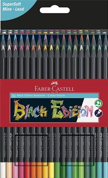 Faber-Castell, Black Edition, Supersoft, sada ergonometrických pastelek s černým lakováním, 36 ks