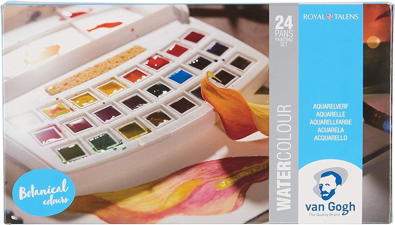 Royal Talens, 20808623, Van Gogh, sada akvarelových barev, 1/2 pánvičky, 24 ks, Botanical
