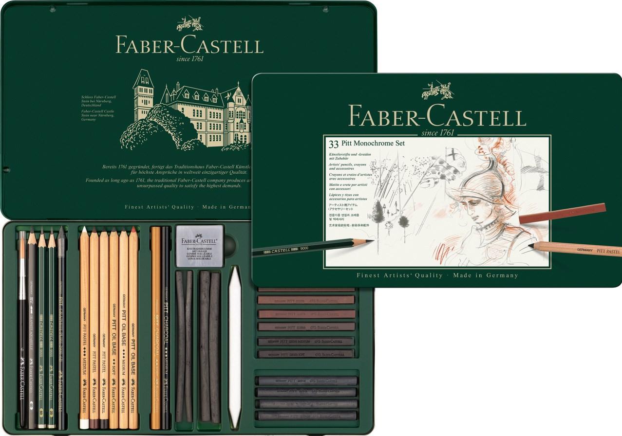 Faber-Castell, 112977, Pitt Monochrome, sada uměleckých výtvarných potřeb, 33 ks