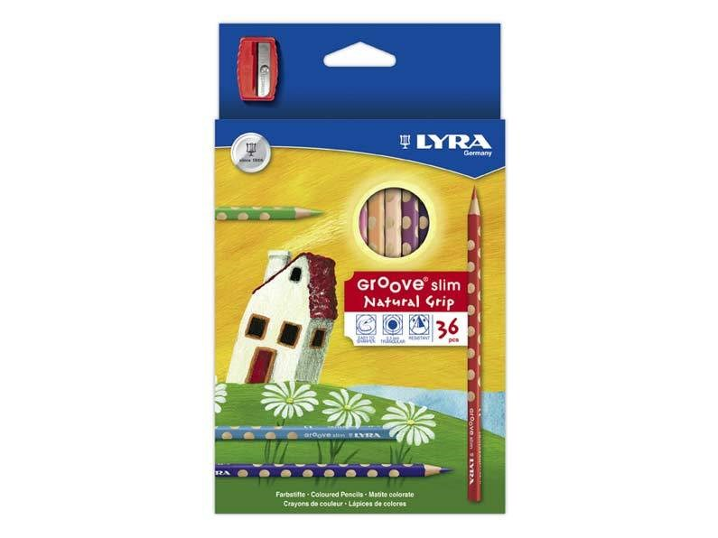 Lyra, Groove slim, sada pastelek s ořezávátkem, 36 ks