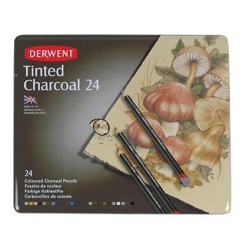 Derwent, 2301691, Tinted Charcoal, sada tónovaných uhlů, 24 kusů