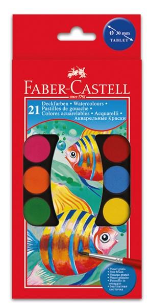Faber-Castell, 125021, sada akvarelových vodových barev, 21 odstínů
