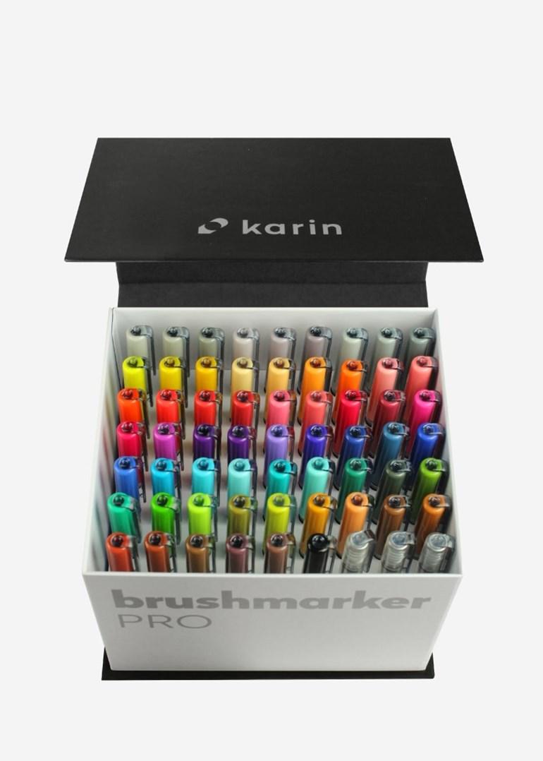 Karin, 27 C7, Brushmarker Pro Mega box, sada štětečkových popisovačů, 60 + 3 ks