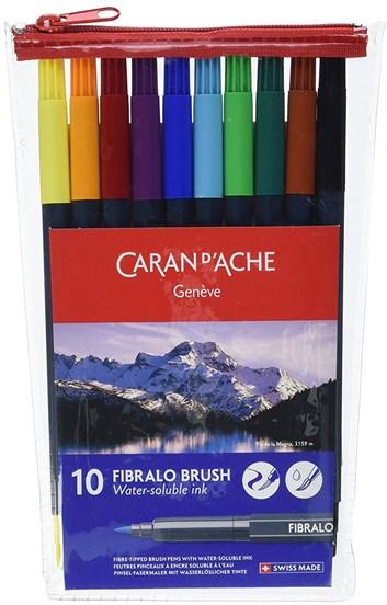 Caran d'Ache, 186.710, Fibralo Brush, akvarelové popisovače, fixy,  10 ks