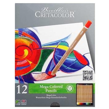 Cretacolor, 29012, Mega colored pencils, sada silných uměleckých pastelek, 12 ks