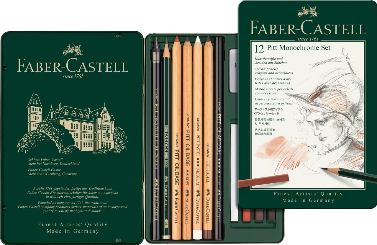 Faber-Castell, 112975, Pitt Monochrome, sada uměleckých výtvarných potřeb, 12 ks