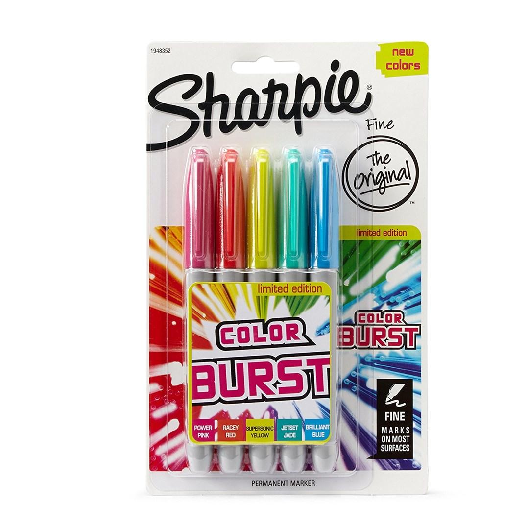 Sharpie, B001OXH0DW, permanentní, umělecké fixy z USA, Colour burst, 5 ks
