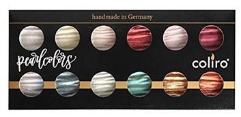 Coliro, M1200, Pearl colors, metalické, perleťové akvarelové barvy, 12 odstínů