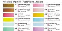 Mungyo, MWPH-12PT, Nostalgia of pastel, sada akvarelových barev, 12 ks 1/2 pánviček, pastelová