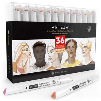 Arteza, ARTZ-8906, oboustranné popisovače, skin odstíny, 36 ks