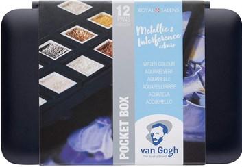 Royal Talens, 20808640, Van Gogh, sada akvarelových barev, 1/2 pánvičky, 12 ks, metalické a perleťové odstíny