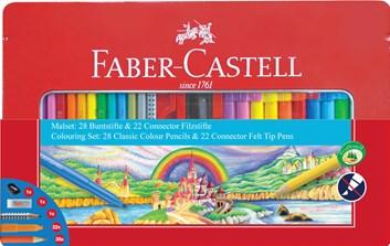Faber-Castell, 155515, Dárková sada popisovačů Connector s pastelkami a příslušenstvím, 50 ks