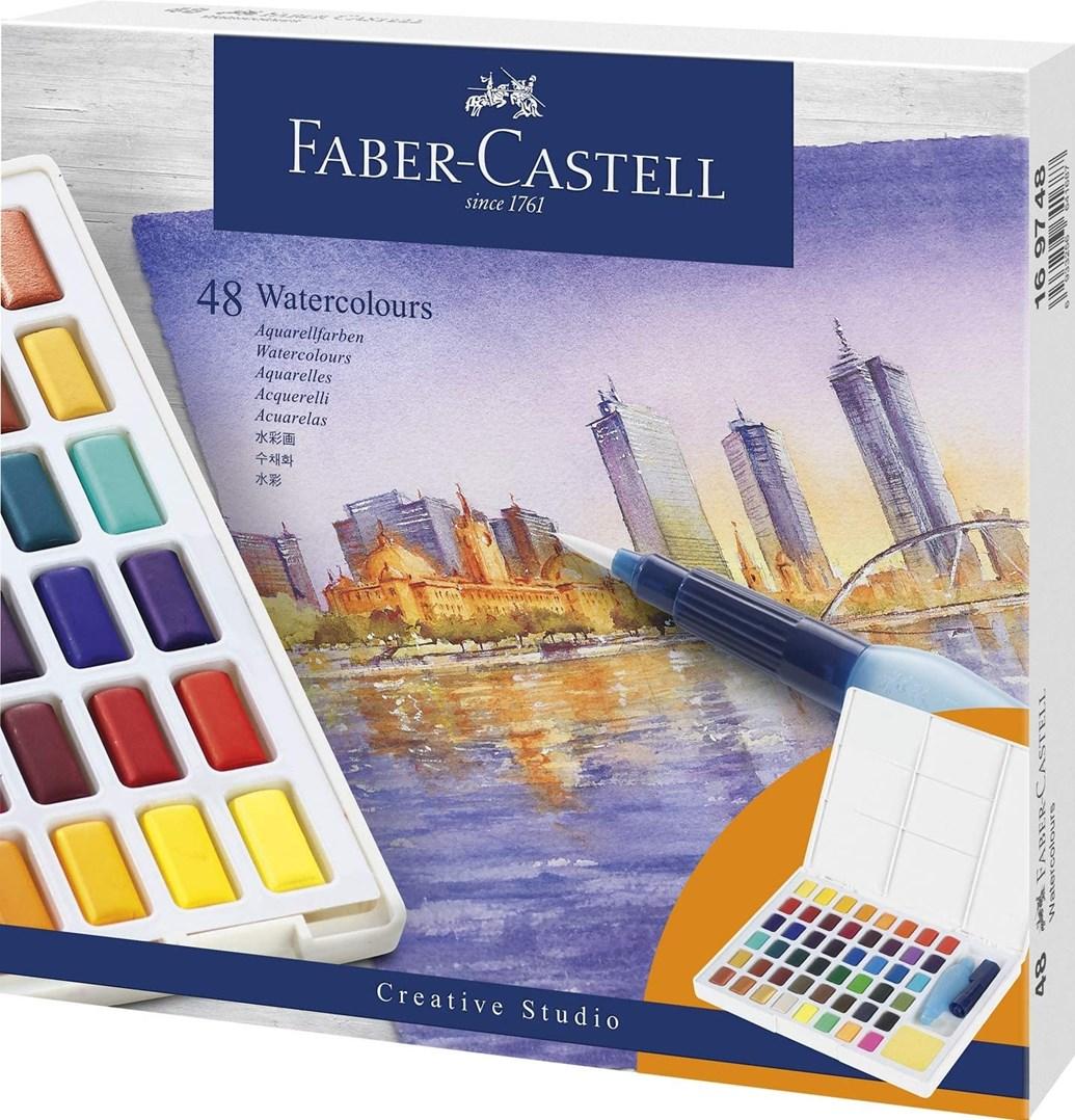 Faber-Castell, 169748, Creative Studio, akvarelové barvy v pánvičkách, 48 ks