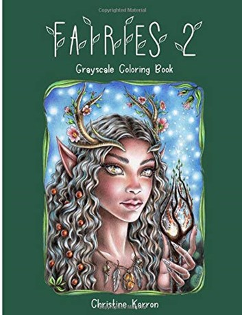 Fairies 2, grayscale colouring book, Christine Karron