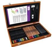 Derwent, Derwent Academy, B00AA6Q6T8, dárková sada pastelek a příslušenství v dřevěném kufříku, 34 kusů