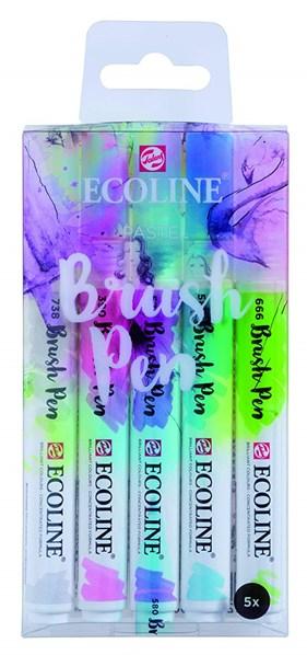 Royal Talens, 11509901, Ecoline brushpen set, sada štětečkových akvarelových popisovačů, pastel, 5 ks
