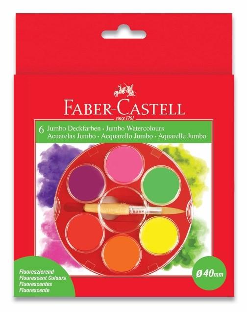 Faber-Castell, 125006, sada akvarelových vodových barev, 6 fluorescenčních barev
