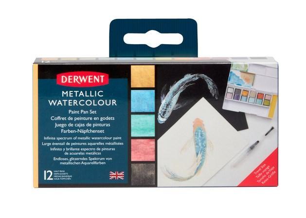Derwent, 2305657, metalické akvarelové barvy v pánvičkách, 12 ks