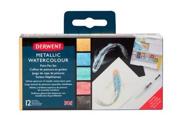 Derwent, 2305657, Metallic, metalické akvarelové barvy v pánvičkách, 12 ks
