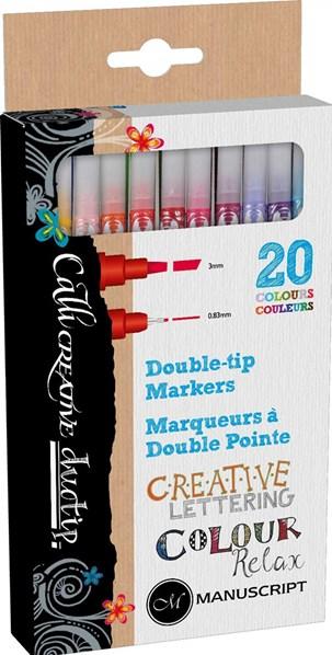 Manuscript, MM7003, Duotip, sada oboustranných kaligrafických popisovačů, 20 ks