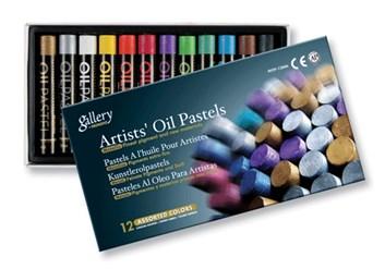 Sada olejových pastelů, metalické barvy
