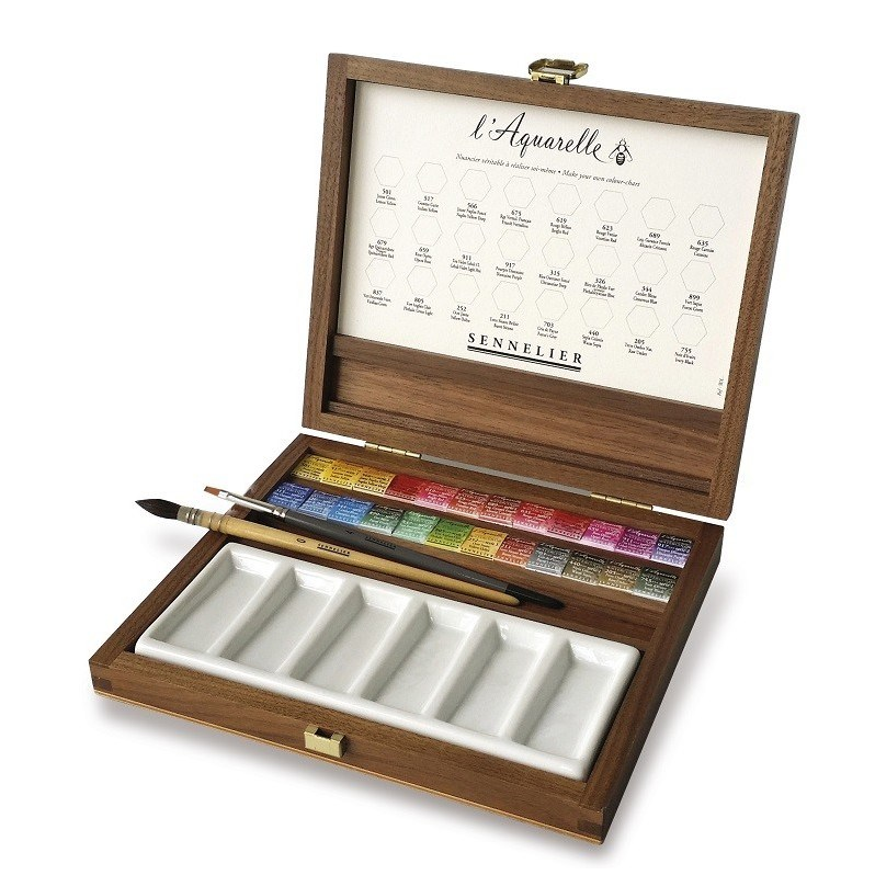 Sennelier, 131614, L´ Aquarelle, mistrovské akvarelové barvy v dřevěném kufříku, 24 1/2 pánviček s příslušenstvím