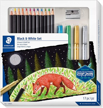 Staedtler, 61 149C, Design Journey, Black & White, sada super soft pastelek s popisovači, 17 ks