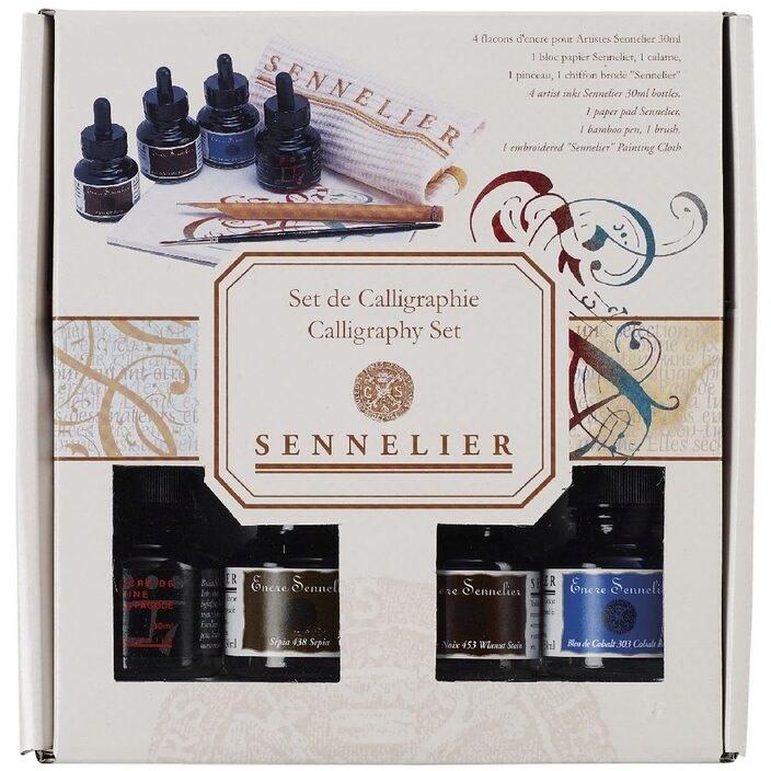 Sennelier, 134021, Calligraphy set, kaligrafická sada, 4 ks inkoustů a příslušenství