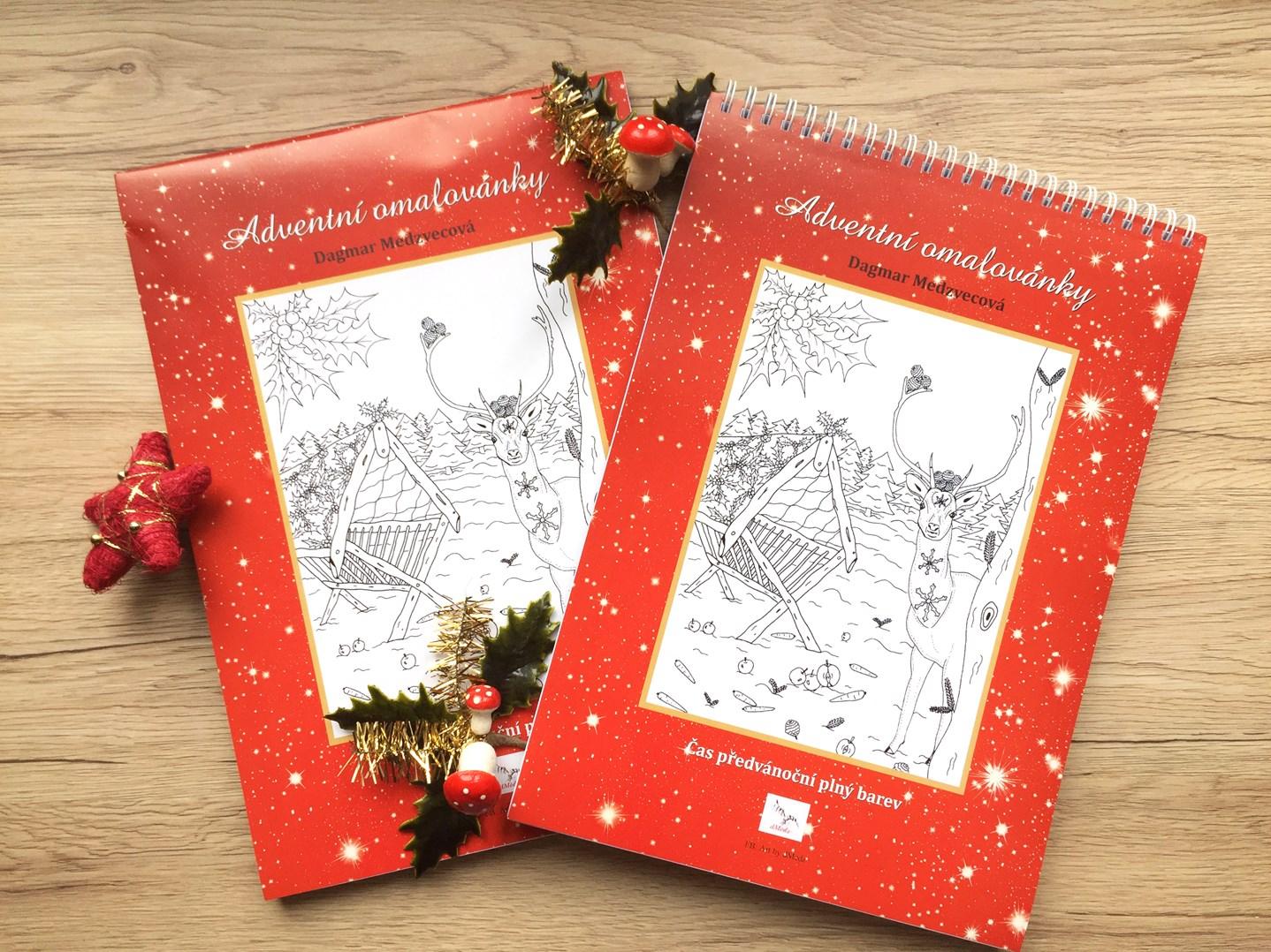 Adventní omalovánky, české omalovánky pro dospělé. Užijte si čekání na Vánoce relaxací s pastelkami.