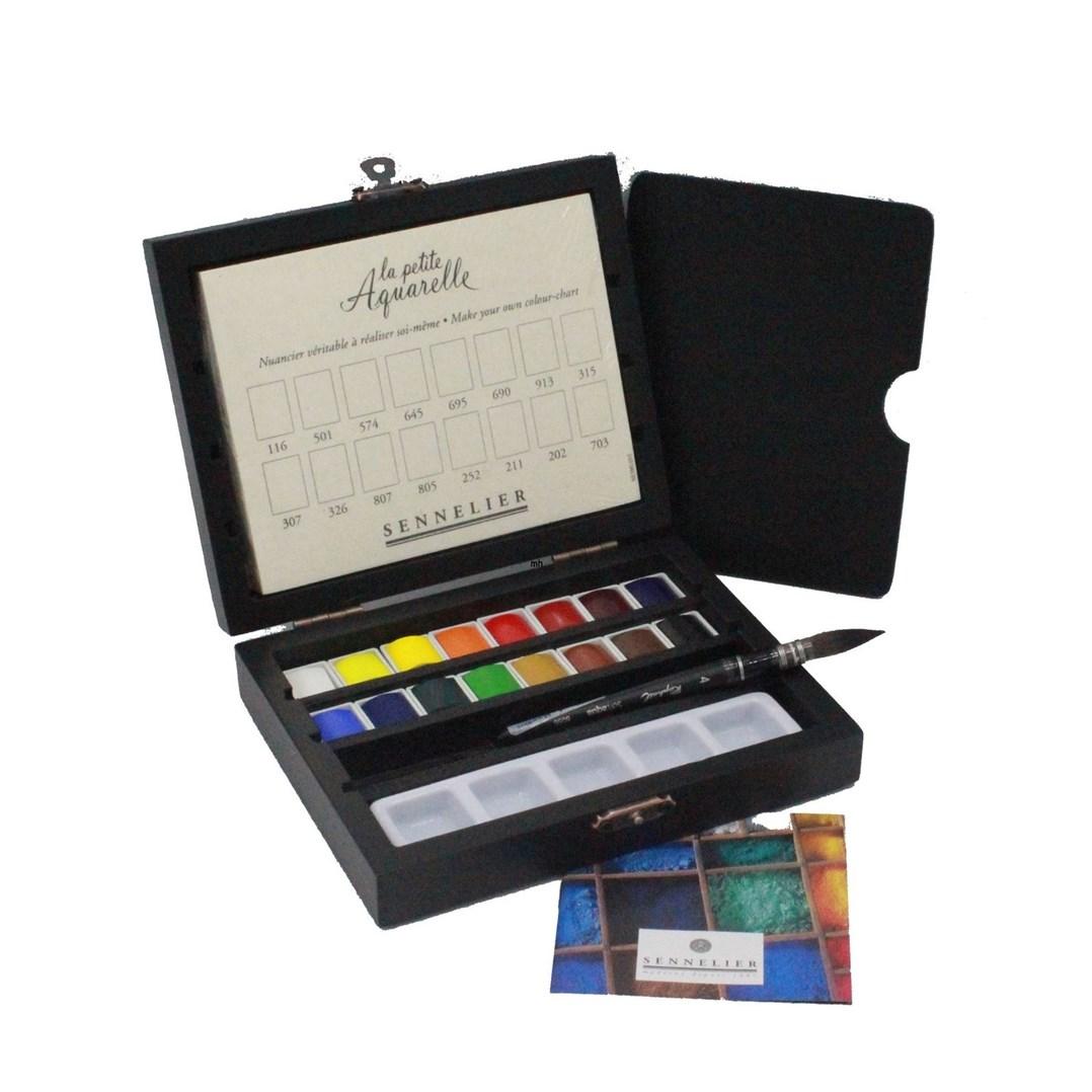 Sennelier, 131686, La Petite Aquarelle, studentské akvarelové barvy v dřevěné kazetě, 16 1/2 pánviček s příslušenstvím