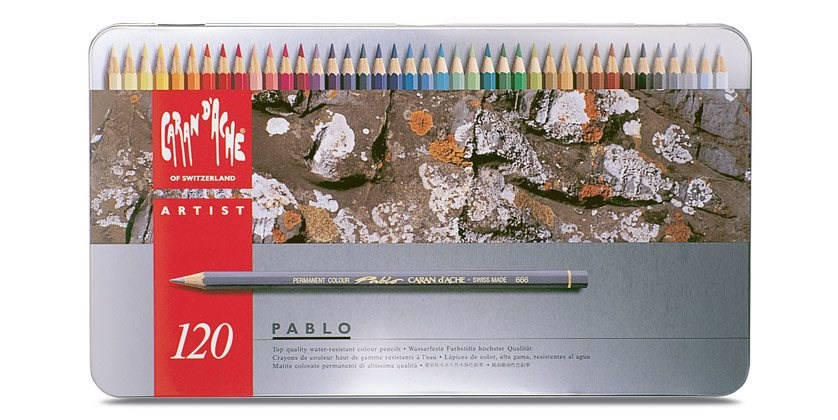 Caran d'Ache Pablo 120 kusů. Umělecké pastelky nejvyšší kvality. Dopřejte si luxusní zážitek během malování.