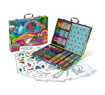 Crayola, 04-6928, Glitter scrapbook kit, třpytkový cestovní kufřík s troly, 115 kusů