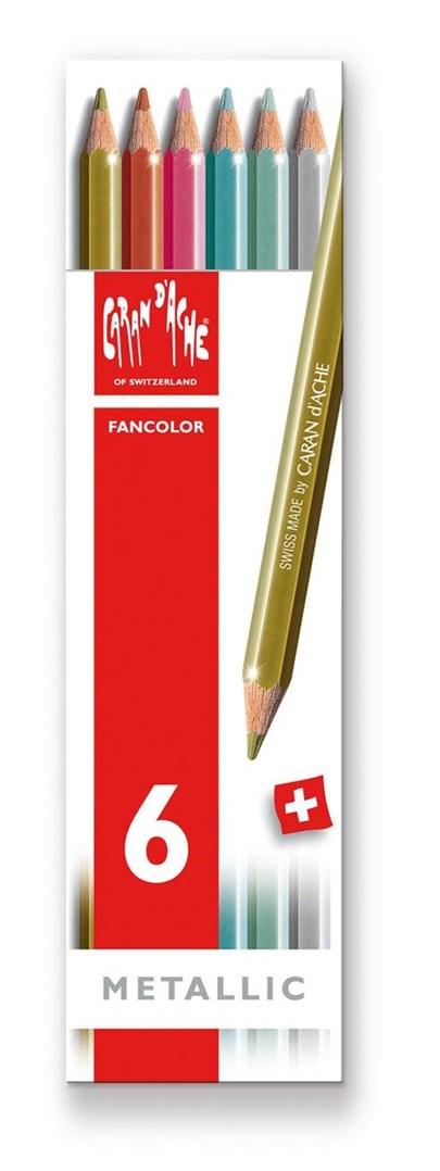 Pastelky Fancolor Metallic, 6 ks, Caran d´Ache