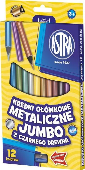 Astra, 312114003, Jumbo metalické pastelky, trojhranné, 12 ks