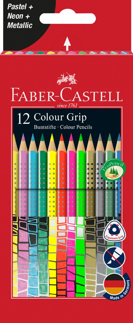 Faber-Castell, 201569, Grip 2001, sada pastelek, speciální edice, 12 ks