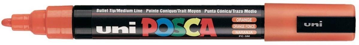 Uni ball, PC-5M, Posca, dekorační popisovač, základní barvy, 1 ks, oranžová