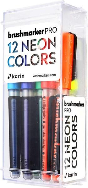 Karin, 27 C12, Brushmarker Pro, sada štětečkových popisovačů, 12 ks, Neon colours