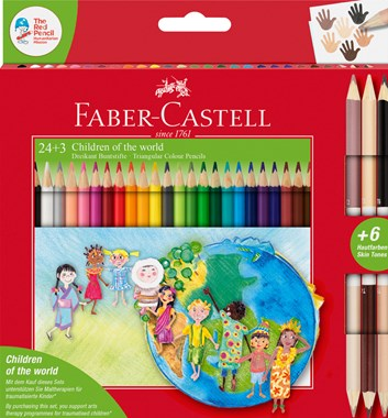 Faber-Castell, 201745, Children of the world, trojhranné pastelky, 24+3 ks