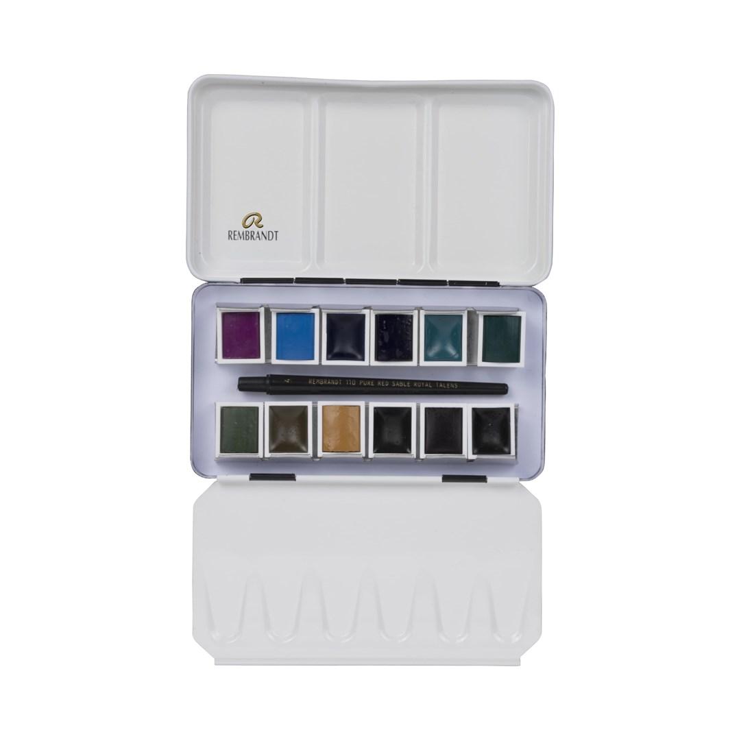 Royal Talens, 05838692, Rembrandt, sada mistrovských akvarelových barev, 12 pánviček, Granulating colours