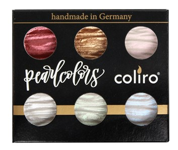 Coliro, M600S, Pearl colors, metalické, perleťové akvarelové barvy, cestovní set, 6 odstínů