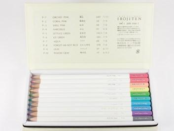 Japonské umělecké pastelky, 10 ks, Tombow Irojiten box č. 1, sada 1 - Pale tone I.