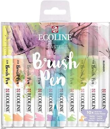 Royal Talens, 11509801, Ecoline brushpen set, sada štětečkových akvarelových popisovačů, 10 ks, Pastel