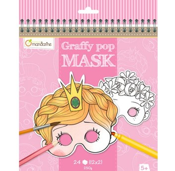 Avenue Mandarine, GY021, karnevalové masky k vymalování pro holky
