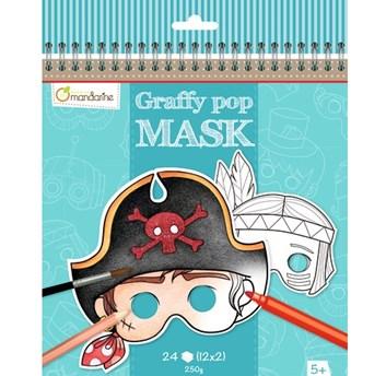 Avenue Mandarine, GY022, karnevalové masky k vymalování pro kluky