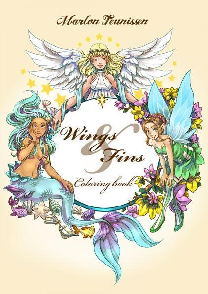 Wings & Fins, Marlon Teunissen, vytáhněte pastelky a pusťte se do vybarvování omalovánky plné víl a mořských panen.