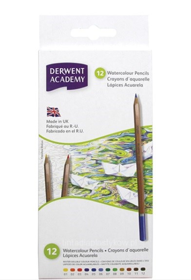 Derwent, 2300090, Academy watercolour, akvarelové pastelky, papírový karton, 12 ks