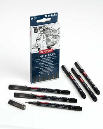 Derwent, 2305559, Line Maker, sada černých linerů, 6 ks