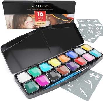 Arteza, ARTZ-8111, sada barev na obličej s příslušenstvím, 16 odstínů